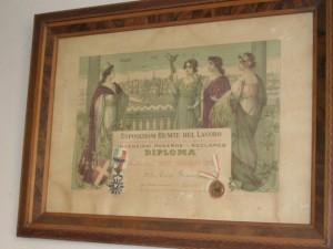 Il diploma d'onore conquistato come tipografo a La Notte