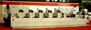 La Codimag VIVA 340 Offset Aniflo 6 colori + flexo + doratura a caldo che sarà in funzione durante il seminario tecnico di maggio