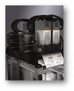 Particolare delle teste di stampa inkjet sulla Kodak Prosper