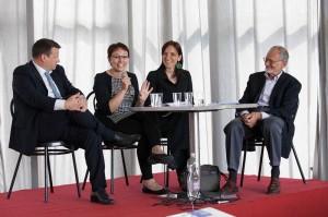 I giornalisti partecipanti al dibattito: da sinistra Emanuele Posenato, Alexia Rizzi, Chiara Bezzi, Marco Picasso