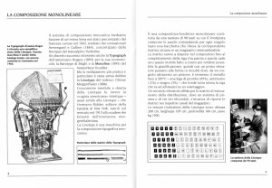 Due pagine all'interno del Quaderno n. 4 dedicato alla Composizione Meccanica in tipografia