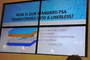 Lo schema del linerless di Ritrama durante la presentazione presso lo stand Prati