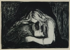 Vampire II, 1895 pietra litografica, inchiostro e raschietto, stampata da Clot, Parigi 38,7 x 56 cm Ars Longa, collezione Vita Brevis © The Munch Museum / The Munch-Ellingsen Group by SIAE 2013