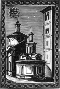 Ex libris per Giuliana Borra - San Satiro, Milano - Xilografia su legno di filo (X2), 1948, mm 80 x 55