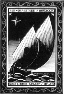 Ex libri per Bigi Luciano - Peschereccio adriatico - Xilografia su legno di filo (X2), 1955, mm 78 x 53