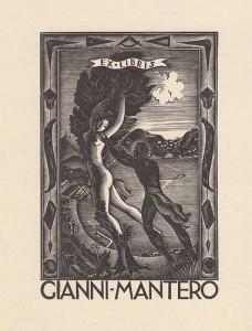 Ex libris per Mantero - Apollo e Dafne con veduta di Como - Xilografia su legno di filo (X2), 1937, mm 113 x 75