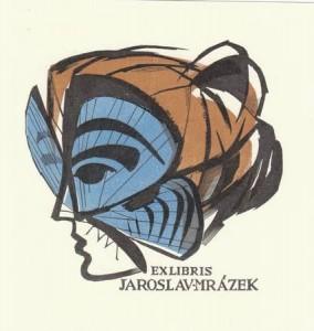 ex libris Mrazek - Donna-farfalla - Xilografia su legno di filo (X2), 1965, mm 72 x 72