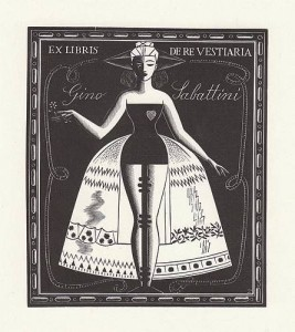 ex libris per Sabatini - Manichino - xilografia