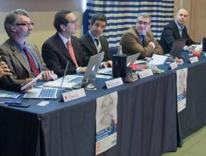 Il tavolo dei relatori: da sinistra Mario Apollonio, Pier Carlo Frabboni, Marco Lombardo, Marco Panizzoli, Claudio Terzoni e Enrico De Gugliemo titolare di Eliofossolo srl