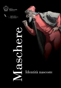 Locandina della mostra sulla grafica nelle maschere a Bagnacavallo