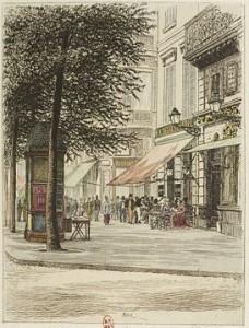 Il Café Tortoni in boulevard des Italiens in una stampa d'epoca