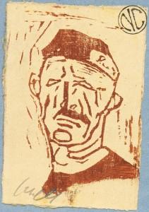 Giuseppe Caselli – Ritratto di prigioniero a Mauthausen, xilografia su legno di filo 1915 -1918, mm 95 x 65