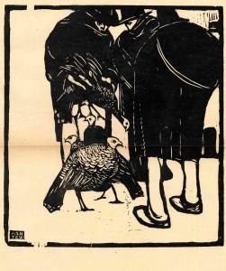 Emilio Mantelli – I tacchini, xilografia su legno di filo 1910 -1915, mm 275 x 250