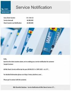 e-mail automatica con avvertenze di manutenzione al superamento di tappe definite (qui 60 milioni di fogli stampati)