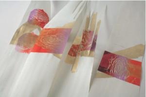 Venere, 2007. Lavorazione di matrice fotopolimerica a rilievo. Stampa su piallaccio di legno e foglia oro