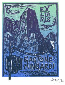 Gastone Mingardi: Remo Wolf (I)- 1991, xilografia su legno di filo, 133 x 88