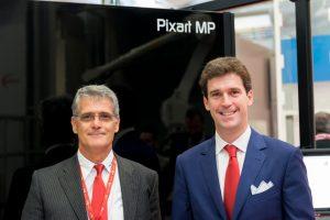 Da sinistra Sergio Ferrari e Alberto Maestri accanto alla nuova piattaforma digitale Pixart MP