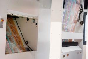 Una fase di stampa durante le dimostrazioni del nuovo inchiostro a base PU
