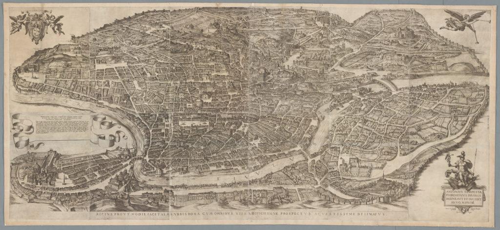 Cartografia e Topografia italiana Roma-Tempesta-1593