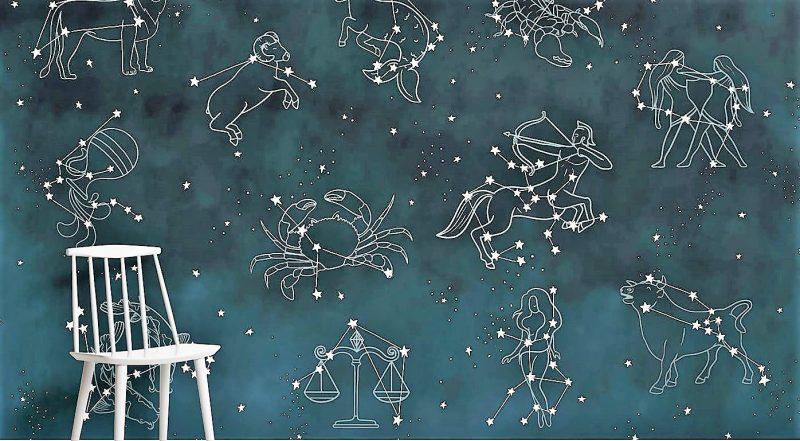 Carta da Parati Costellazioni e Segni Zodiacali