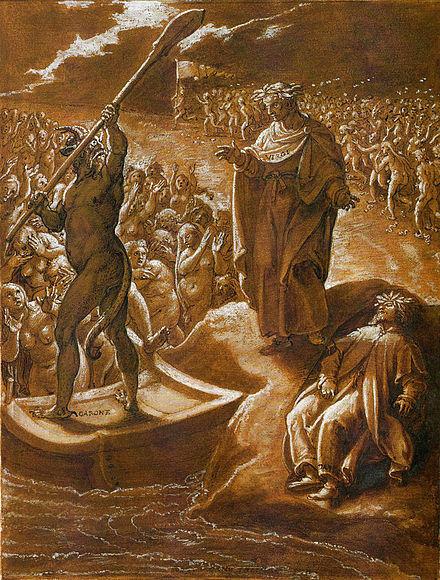 Virgilio rimprovera Caronte, illustrazione di Giovanni Stradano