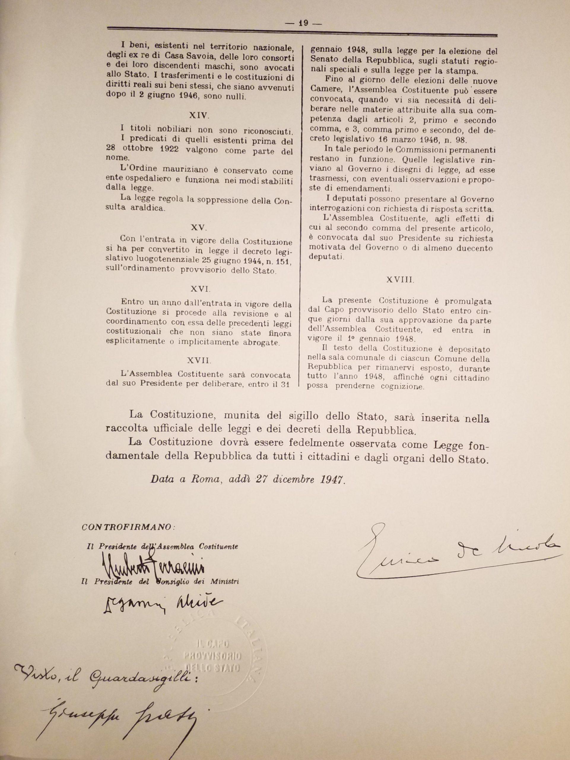 costituzione la penultima pagina 1947